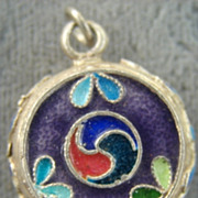 Champleve Inlay Pendant Flowers Swirls