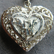 Sterling Silver Filigree Puff Heart Pendant