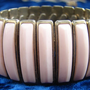 1950s Expansion Bracelet featuring Peach Pink Thermoset Inserts