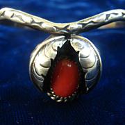 Vintage Navajo Coral Sterling Silver Bracelet