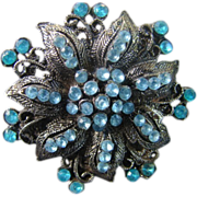 1950 Stunning Filigree Baby Blue and Aqua Stone Flower Brooch
