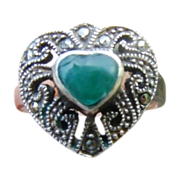 SALE Sterling Silver Apple Jade Marcasite Ring size 6