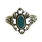 SALE Sterling Silver Turquoise Filigree Ring Size 5 1/2