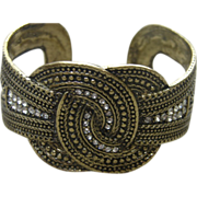Vintage White Rhinestone Knot Cuff Bracelet