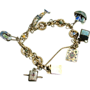 Antique Chinese Enamel Charm Bracelet