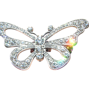 Large Gypsy Glam White Rhinestone Butterfly Ring