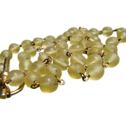 Golden Frosted Camphor Glass Necklace
