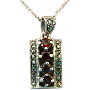 Antique Bohemian Garnet and Marcasite Pendant 925