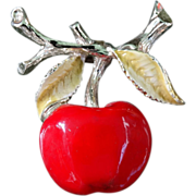 Vintage Bright Red Enameled Apple Brooch Pin Gerrys