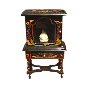 Japanned Painted China Cabinet Vitrine  Miniature Dollhouse Furniture Vintage & Miniature Doll