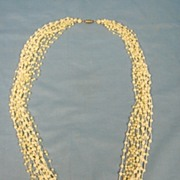 Flapper Beads Necklace 14 Strand Costume Pearl Dainty Superb Period