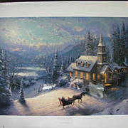 Thomas Kincade Limited Edition Print Sunday Evening Sleigh Ride Moonlit Village II Series Orig