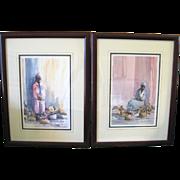 Pair of Framed Signed Gaye Sanders Fisher Charleston Flower Ladies Prints