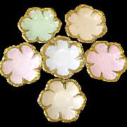 6 Gilt Trimmed Limoges Porcelain Salts or Butter Pats in Flower Form