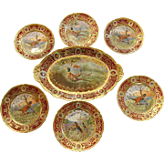 Exquisite Nippon Game Birds Set Heavy Gold and Enamel