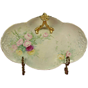 Limoges Hand Painted Roses Split Handle BonBon Tray