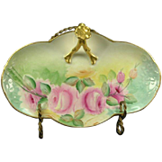 Lavish Roses Limoges Porcelain Split Handle Bonbonniere, Gold Trim, Artist Signed