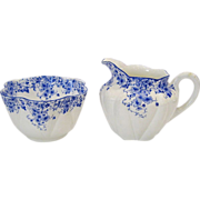 Shelley Dainty Blue Creamer and Sugar Bowl