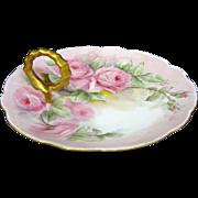 Limoges Porcelain Ring Handle Bon Bon Pink Roses