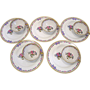 5 Charles Ahrenfeldt Limoges Hostess Cup and Plate Sets
