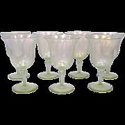 Set of 7 Steuben Verre de Soie Goblets