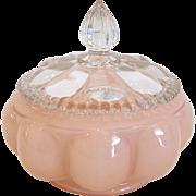 Fenton Rose Overlay Lidded Powder Jar