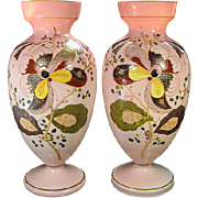 SALE Pair of Matching Victorian Mantle Vases with Hand Painted Enamel Decoration