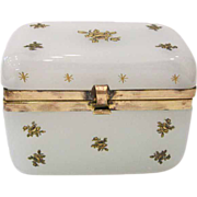 Antique French Opaline Box or Casket with Rose Decoration