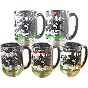 Set of 5 Libbey Tally Ho Glass Mugs