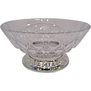 Val St Lambert Imperial Silver Footed Crystal Bowl