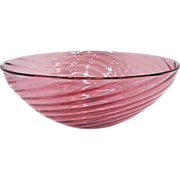 Signed Peter Greenwood Cranberry Swirl Bowl, Retired