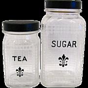 Hazel Atlas Fleur-de-Lis Sugar & Tea Canisters
