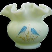 Fenton Custard Glass Blue Birds Ruffled Rim Vase, Artist Signed