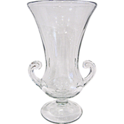 Tiffin Glass Large Trumpet Vase with Handles