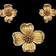SALE Crown Trifari Golden Dogwood Brooch and Earrings