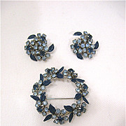SALE Signed Weiss Blue Rhinestone and Enamel Brooch and Earrings