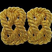 SALE Vintage Carlisle Gold Rope Clip Earrings