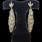 "Pair of Signed Weiss Rhinestone 3"" Dangle Earrings"