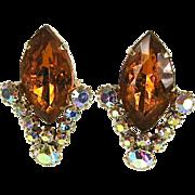 Dazzling Vintage Orange and Clear Rhinestone Earrings