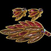 SALE Pink & Lavender Rhinestone Brooch & Earrings Set