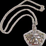 Vintage Sterling Silver Perfume Bottle Necklace w Dauber