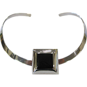 SALE Sterling Silver Choker Necklace with Sterling & Jet Slide