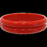 SALE Pair Red Bakelite Bangle Bracelet Spacers