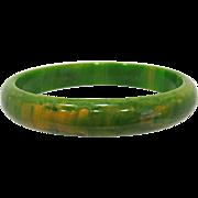 Green with Yellow Marbled Bakelite Bangle Bracelet