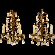 Pair Vintage Italian Tole Sconces with Prisms