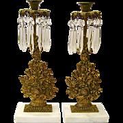 SALE PENDING Pair of Gilt Brass Girandoles