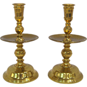 SOLD Pair Virginia Metalcrafters Colonial Williamsburg Mid-Drip Candlesticks