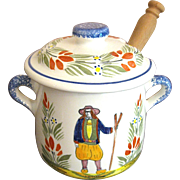 Quimper Pottery Mustard or Jam Pot