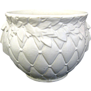 1955 McCoy Pottery Matte White Foliate Quilted Jardiniere