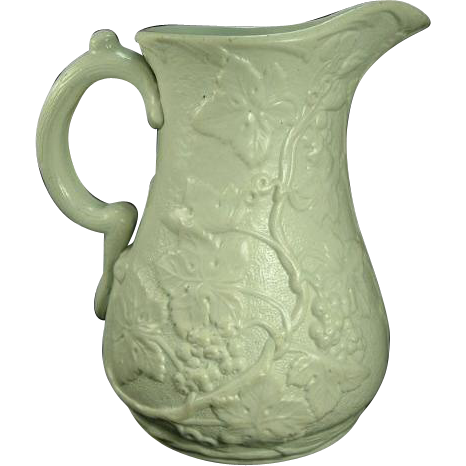 Antique 1850 S Dudson Relief Molded Botanic Pitcher